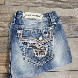 Rock revival ripped bling pocket bootcut jeans
